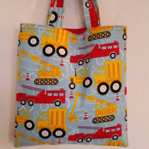 Red and Yellow Construction Trucks Tote, Kids Bags